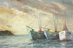 Herbert August Uerpmann - Ships on Coast