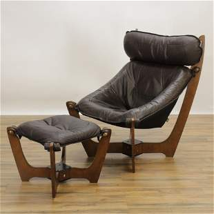 IMG of Norway LUNA Hawk Leather Chair & Ottoman