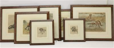 Henry Wilkinson, 7 prints of dogs, signed