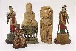 19th-20th C. Wood,Bronze and Soapstone Figures