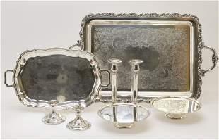 Sterling Candlesticks; Silverplate Trays