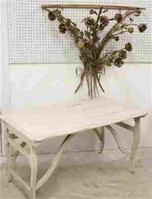 Vintage Conservatory Table; Floral Wall Console