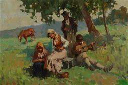"A. Sarno, ""Pastoral Scene with Gypsies"", O/C"