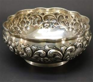 Black Starr & Frost Sterling Silver Repousse Bowl