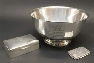 Sterling Revere Bowl, Box, French Engraved Box