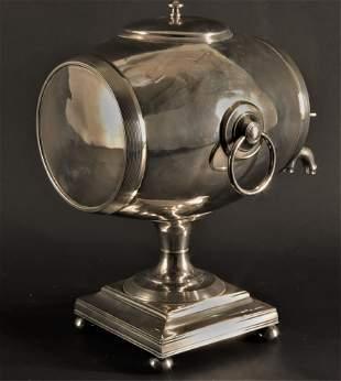 Silverplate Barrel Hot Water Urn - Taylor, 19th C