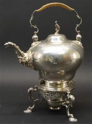 George II Silver Tea Kettle & Stand - 1754, Swift