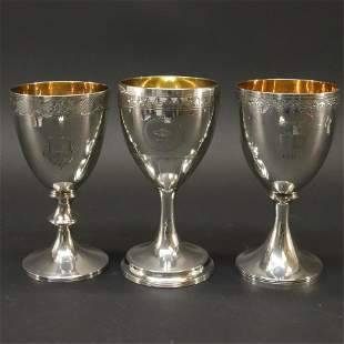 3 George III Silver Goblets - Byrne, Chawner 1790s
