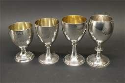 4 George III Silver Goblets - London, Late 18th C