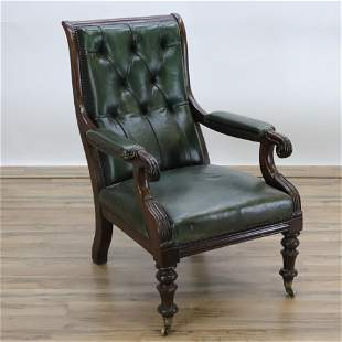 William IV Mahogany Library Chair, 19th C.