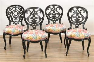 4 Victorian Carved Wood Upholstered side chairs