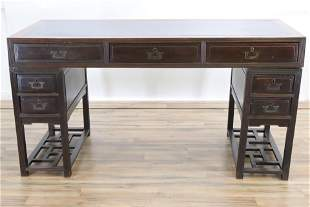 Campaign Style Chinese Rosewood Partners Desk