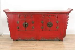 Chinese Red Lacquer Altar Table