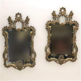 Pair of Chinese Chippendale Style Giltwood Mirrors