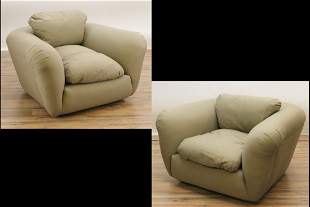 Pr of Modern Fully Upholstered Lounge Chairs
