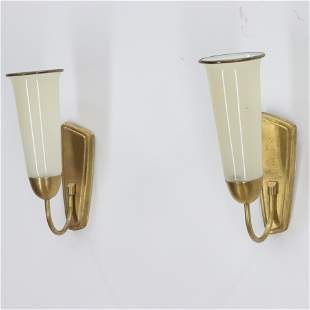 Pair Italian 1950s Cream Glass and Brass Sconces