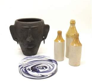 Misc items; Mask Vase, Pottery Jugs & Glass Tray