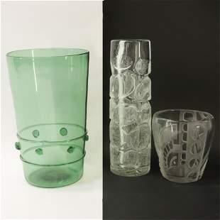 Three Art Deco Glass Vases, signed