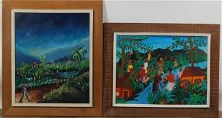 2 Haitian Paintings, H Dubreuil, Henry R Roger