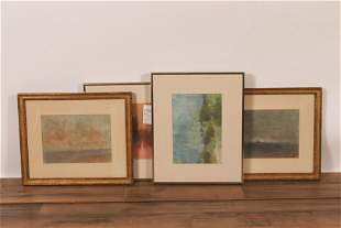 Four Contemporary Pastels Abstracts, Signed
