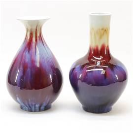 Two Chinese Flambé Vases