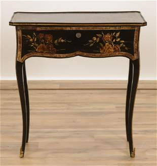 French Chinoiserie Black Lacquer Side Table