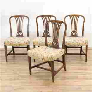 Set of 4 George III Mahogany Side Chairs, 18th C.