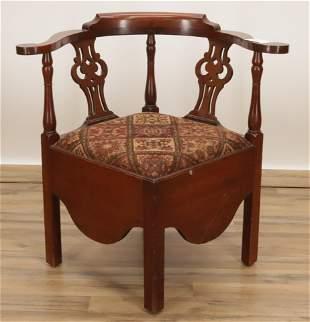 George III Style Mahogany Corner Chair