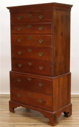 Chippendale Style Cherry Chest on Chest