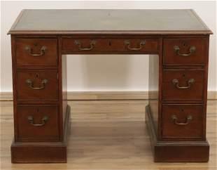 Victorian Mahogany Pedestal Desk, 19th C.