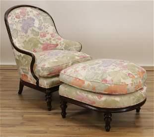 Victorian Style Slipper Chair & Ottoman