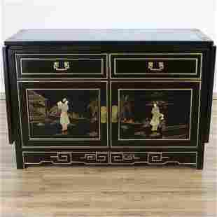 Chinese Style Gilt Black Lacquer Server