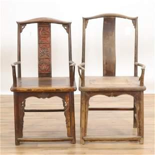 Near Pair Chinese Hardwood Armchairs
