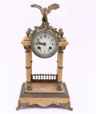Gilt Bronze & Marble Striking Mantle Clock, 19th C