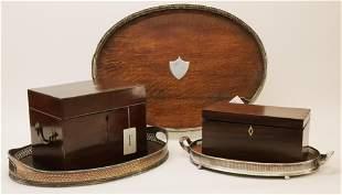 19th C. Mahogany Tea Caddy, Document Box, Trays