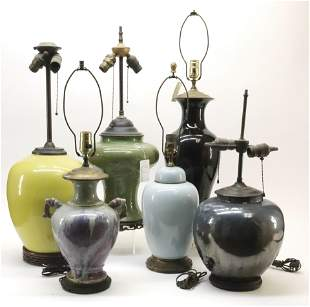 6 Chinese Style Porcelain Lamps