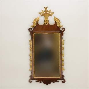 George III Parcel Gilt Scroll Cut Mirror, 18th C.