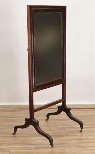 Late George III Mahogany Cheval Mirror, E 19th C.