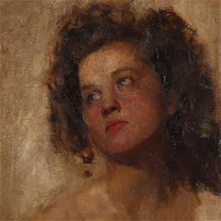 Cesare Tallone, Young Woman In Distant Gaze O/C