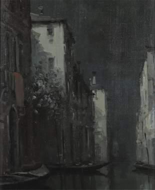 M. Foscarini, Venice Canal Scene, 20th C, O/C