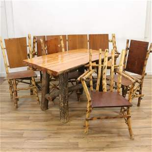 Adirondack Style Faux Bamboo Dining Set And Bench