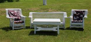 Victorian White Painted Wicker Set; Coffee Table