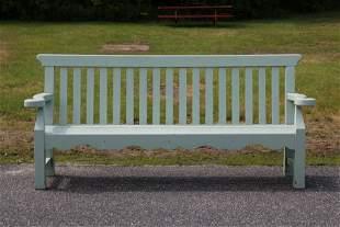 Green Painted Garden Bench