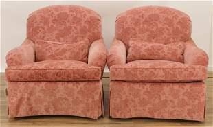 Pair of Swaim Velvet Upholstered Lounge Chairs