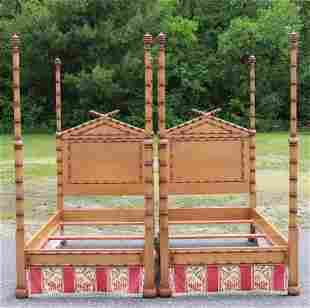 Pair Faux Bamboo Turned Cherry Twin Beds