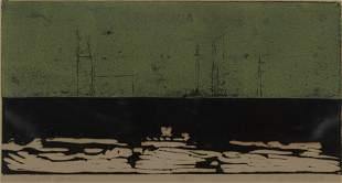 "Robert Freimark ""Freight Yard"" 1956 Color Woodcut"