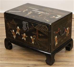 Chinese Black Lacquer Gilt Decorated Chest