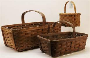 3 Handled Woven Baskets
