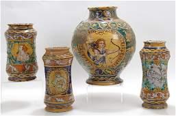 4 Majolica Pottery Jars; Sicilian Albarelli, 17th