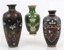 Three Cloisonné Vases, 20th C.